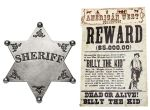 WESTERN BADGES, WANTED POSTERS AND COINS